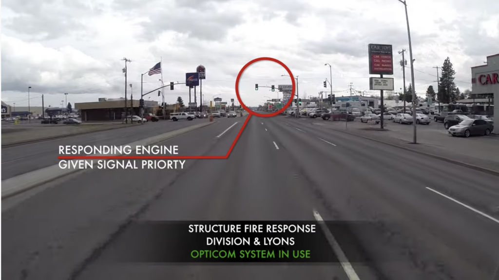 Opticom-equipped fire truck approaches intersection. Image courtesy Spokane Emergency Services.